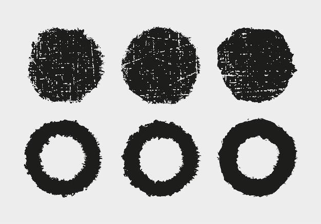 Ronde frames met grunge-textuur