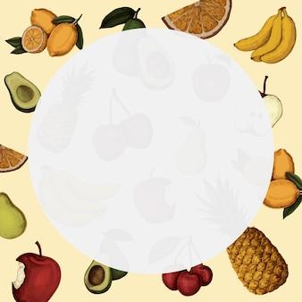 Ronde fruitige frameachtergrond