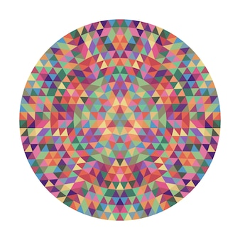 Ronde geometrische driehoeksmandala-ontwerp - symmetrische vectorpatroon grafische kunst uit driehoeken
