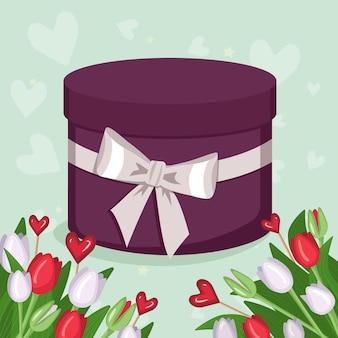Ronde geschenkdoos met witte strik en bloemenframe. boeketten van heldere lentetulpen, hartvormige lolly's, groene stengels en bladeren. gevoelige groene romantische achtergrond. platte vectorillustratie