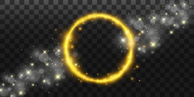 Ronde glanzende perfecte achtergrond. eps10. mooi licht. magische cirkel. kostbare achtergrond. rond gouden glanzend frame met lichte uitbarstingen.
