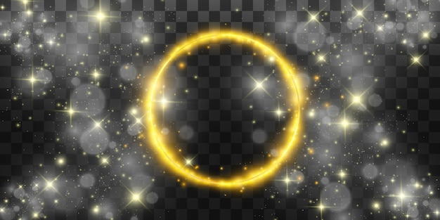 Ronde glanzende perfecte achtergrond. eps10. mooi licht. magische cirkel. kostbare achtergrond. rond gouden glanzend frame met lichte uitbarstingen. Premium Vector