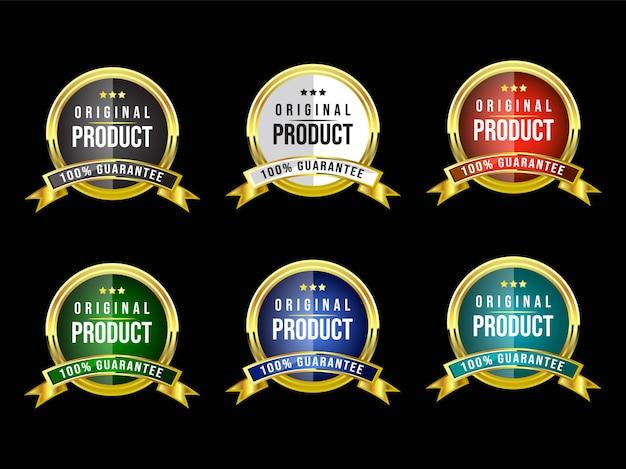 Ronde glanzende set luxe koninklijke vintage gouden badge en embleem label voor premium kwaliteit en tevredenheid met lint