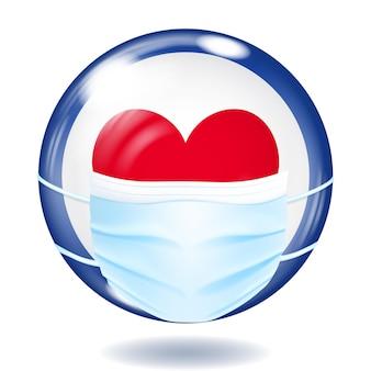 Ronde glazen knop in amerikaanse vlagkleuren met een medisch wegwerpmasker ter bescherming van het coronavirus