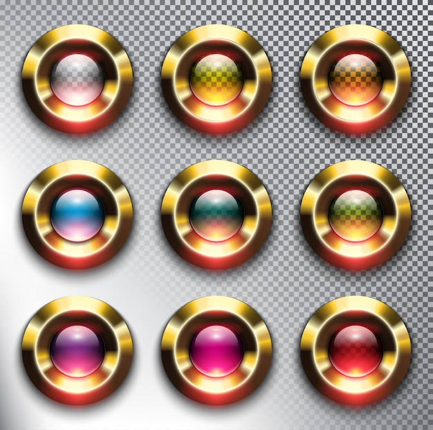 Ronde glazen web buttons met gouden frame. geïsoleerd