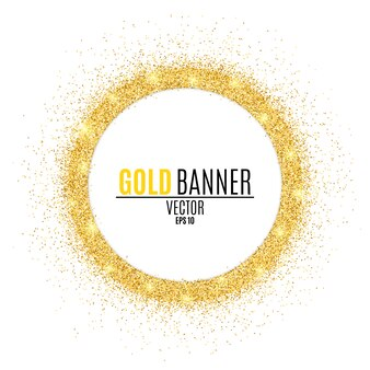 Ronde gouden banner van glitters.