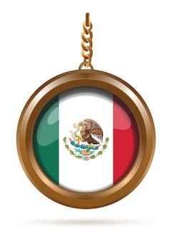 Ronde gouden medaillon aan een ketting met de vlag van mexico erin.