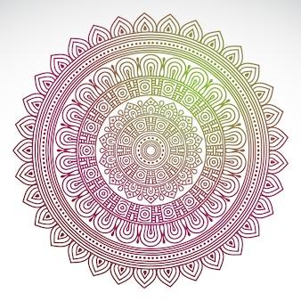 Ronde gradiënt mandala op witte geïsoleerde achtergrond