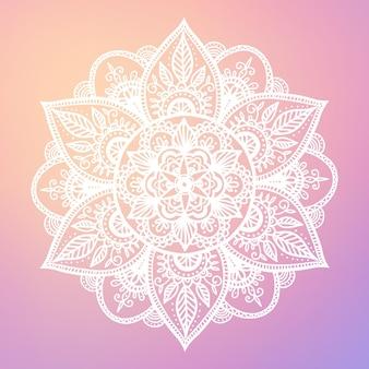 Ronde gradiëntmandala op witte geïsoleerde achtergrond. vector boho mandala in pastelkleuren. mandala met bloemenpatronen. yoga sjabloon
