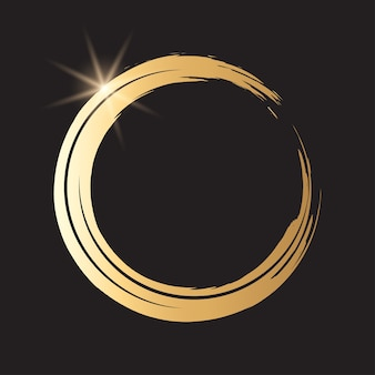 Ronde grunge gouden frame op de geruite achtergrond. cirkel luxe vintage grens