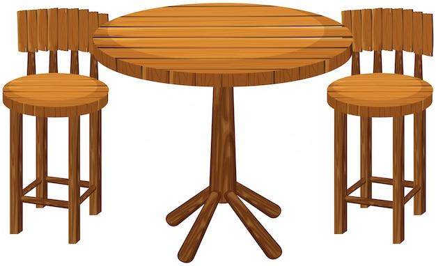 Ronde houten tafel en stoelen