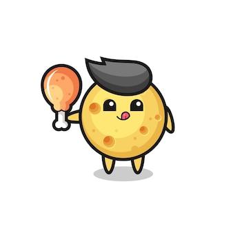 Ronde kaas schattige mascotte eet een gebakken kip, schattig stijlontwerp voor t-shirt, sticker, logo-element