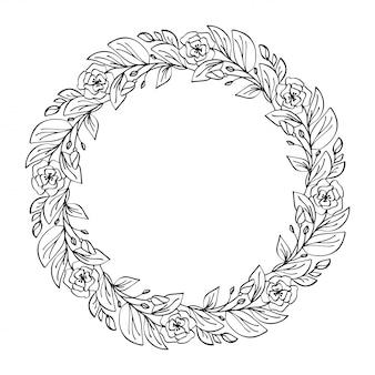 Ronde kalligrafische bruiloft frame krans met plaats voor tekst