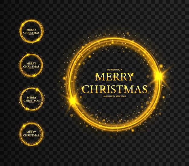 Ronde kerstframes met sterren frames merry christmas wenskaart