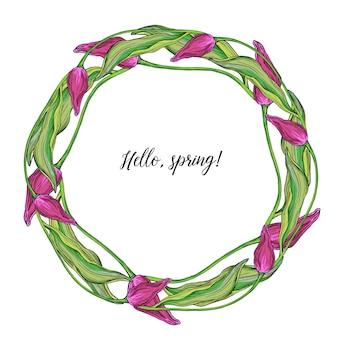 Ronde krans van vector gekleurde tulp bloemen, lentebloemen