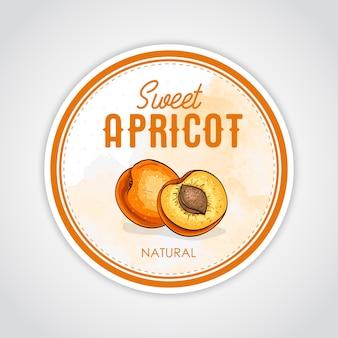 Ronde label met zoete en gezonde abrikoos