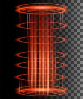 Ronde lichtstralen met vonken magisch fantasieportaal futuristische teleport