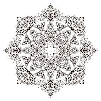 Ronde mandala met kantontwerp, decoratief element. mehndi-stijl