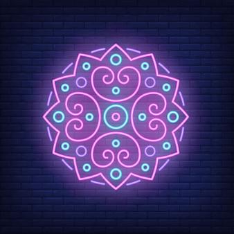 Ronde mandala patroon neon teken
