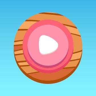 Ronde mobiele app ui afspeelknop roze wit rood geel bruin met houtpatroon premium vector
