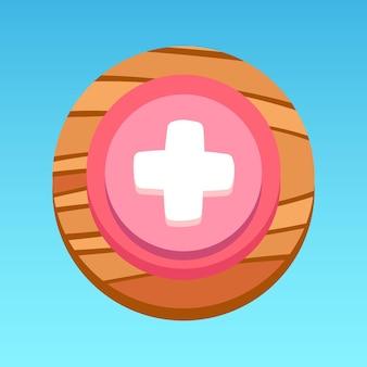 Ronde mobiele app ui gezondheidsknop roze wit rood geel bruin met houtpatroon premium vector