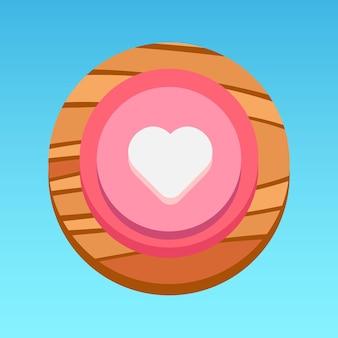 Ronde mobiele app ui hartknop roze wit rood geel bruin met houtpatroon premium vector