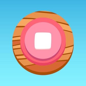 Ronde mobiele app ui stopknop roze wit rood geel bruin met houtpatroon premium vector