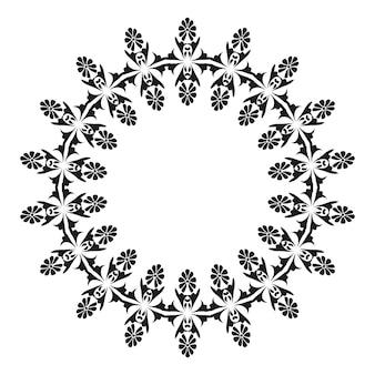 Ronde patroonrand rond damastpatroon met plaats voor tekst bloemenkader zwart en wit