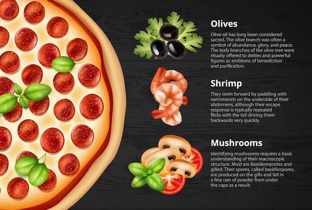 Ronde pepperonispizza met varianten van vullingen met beschrijvingen op zwarte achtergrond
