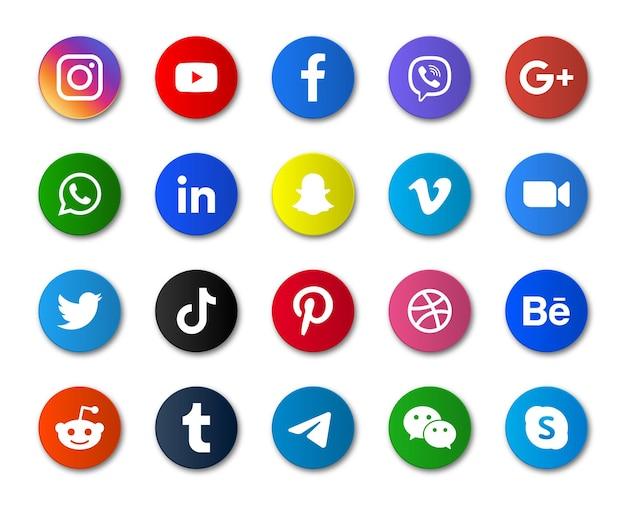 Ronde pictogrammen voor sociale media of logo's van netwerkplatforms
