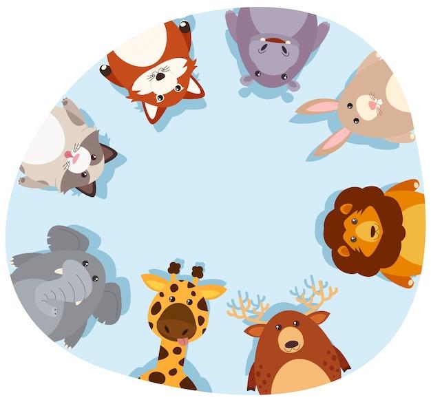 Ronde rand met schattige dieren