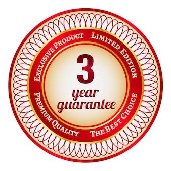 Ronde rode en gouden sticker of label met 3 jaar garantie