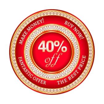 Ronde rode en gouden sticker of label met 40 procent korting