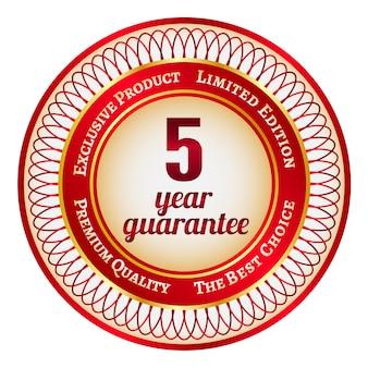 Ronde rode en gouden sticker of label met 5 jaar garantie