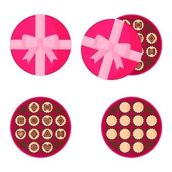 Ronde roze doos chocolaatjes.