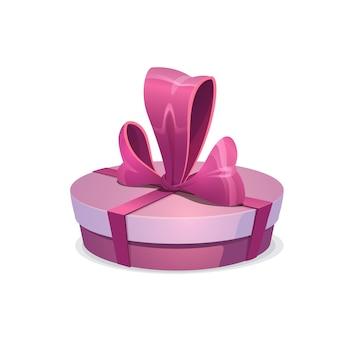 Ronde roze geschenkdoos met strik, vectorcadeau omwikkeld met weelderig lint. cartoon geschenkdoos voor feestelijke gebeurtenis kerstmis, valentijnsdag, verjaardag of nieuwjaarsviering geïsoleerd op een witte achtergrond