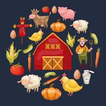 Ronde samenstelling met een cirkel van geïsoleerde cartoon boerderij symbolen magazijn groenten dieren