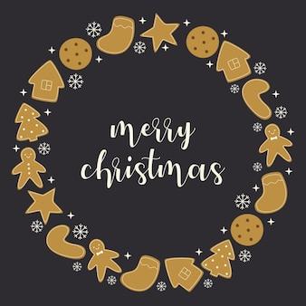 Ronde sjabloonframe of kaart voor felicitaties en reclame met kerstkoekjes