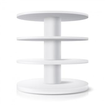 Ronde standaard, winkeldisplayplank en productrekvitrine, realistisch. supermarkt ronde stand of winkel pos roterende display, wit model