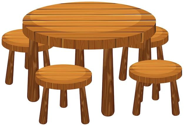 Ronde tafel en stoelen