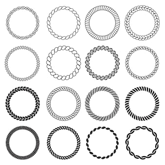 Ronde touwvormen. nautische cirkelframe voor etiketten decoratieve zee knoop grens ontwerpsjabloon. illustratie touw cirkelframe, koord rond marine, kabel gedraaid
