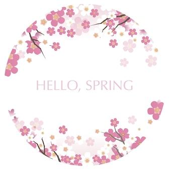Ronde vectorillustratie met kersenbloesems in volle bloei en hallo lente tekst
