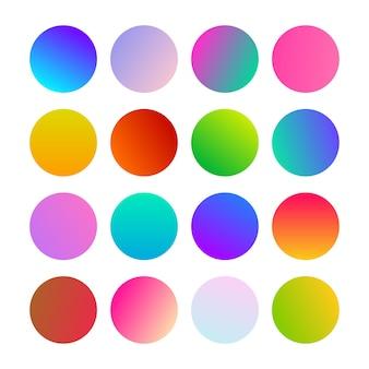 Ronde verlopen bollen. set van zestien trendy veelkleurige verlopen. vector illustratie