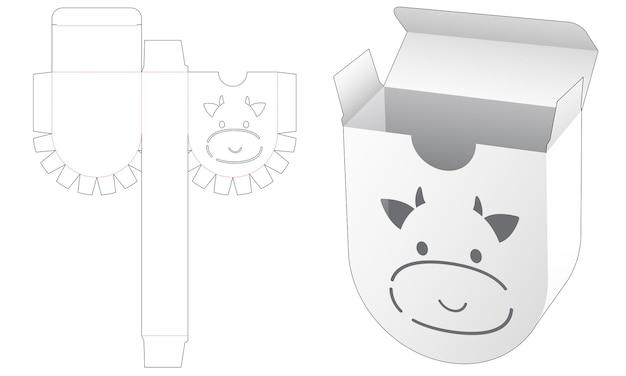 Ronde verpakkingsdoos met gestanst sjabloon voor koe-stencil