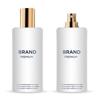 Ronde witte en gouden plastic fles met dispenser