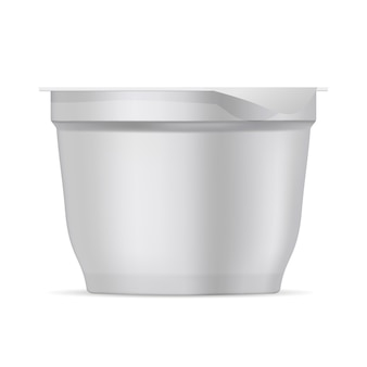 Ronde witte matte plastic pot voor yoghurt