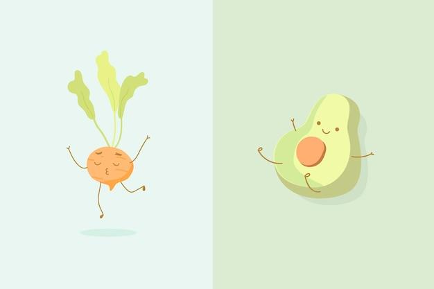 Ronde wortel en halve avocado karakters achtergrond