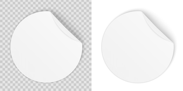 Ronde zelfklevende papieren stickers met gebogen hoek.