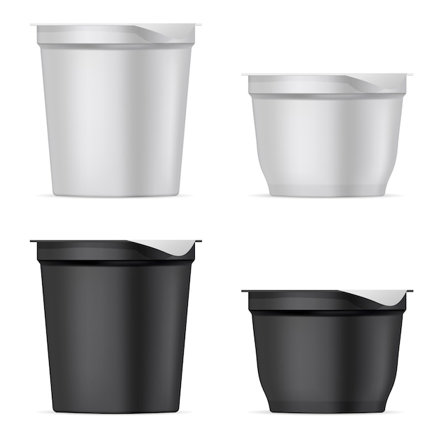 Ronde zilveren witte en zwarte mat plastic potten set