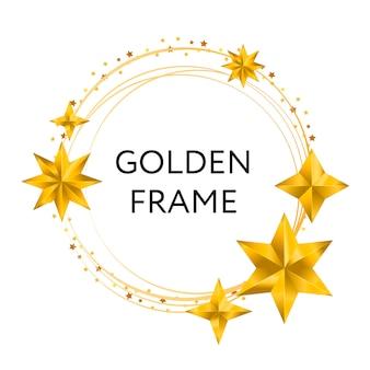 Ronde, zwarte banner met veelhoekig frame, versierd met gouden en zwarte sterren op licht.